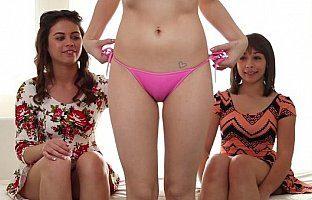 Three girls one cock